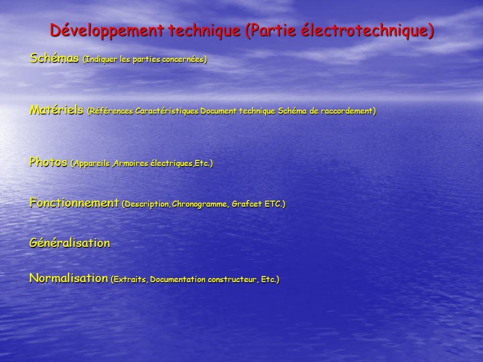 Développement technique (Partie électrotechnique)