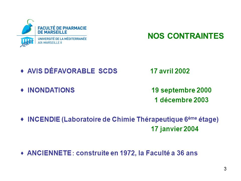 NOS CONTRAINTES  AVIS DÉFAVORABLE SCDS 17 avril 2002