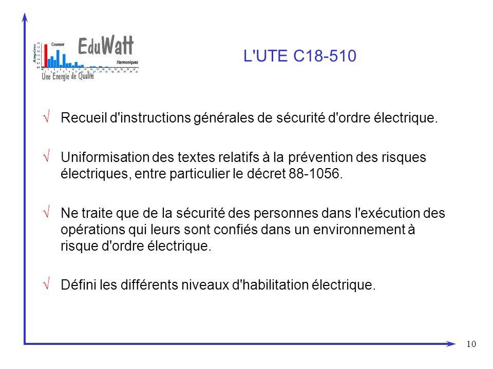 30/03/2017 L UTE C18-510. Recueil d instructions générales de sécurité d ordre électrique.