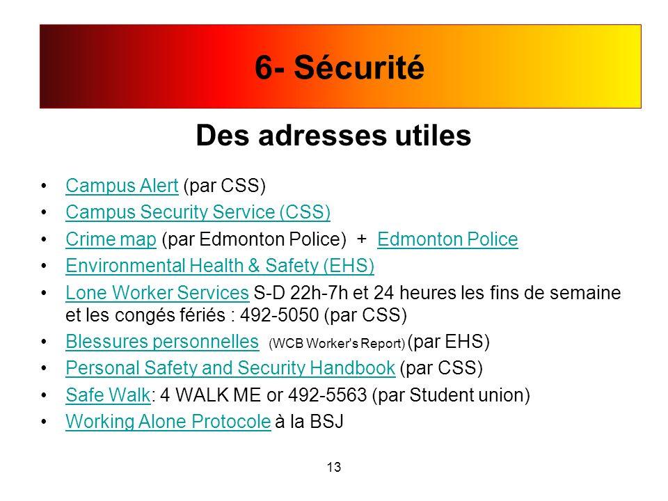 6- Sécurité Des adresses utiles Campus Alert (par CSS)