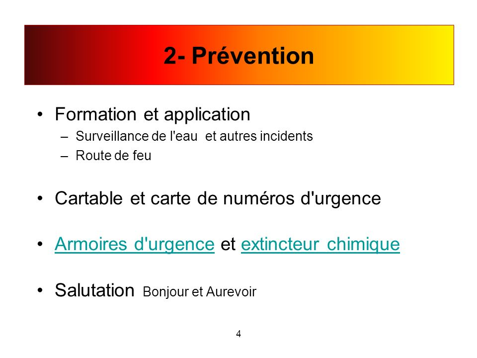 2- Prévention Formation et application