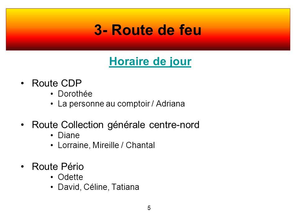 3- Route de feu Horaire de jour Route CDP