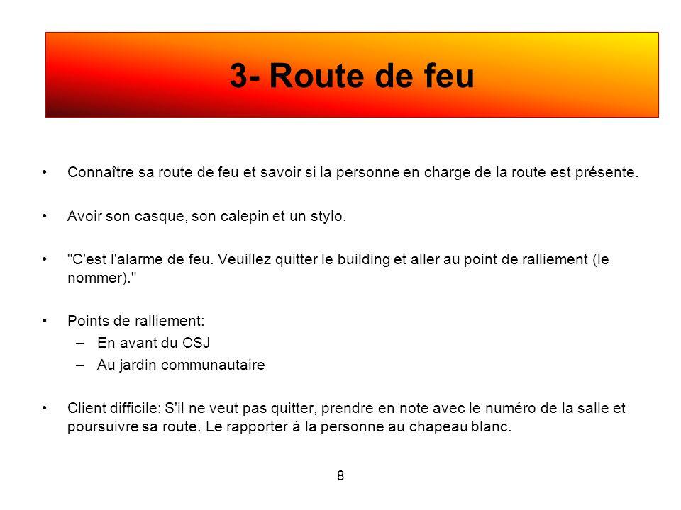 3- Route de feu Connaître sa route de feu et savoir si la personne en charge de la route est présente.