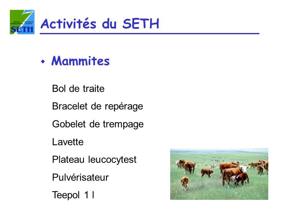 Activités du SETH Mammites Bol de traite Bracelet de repérage