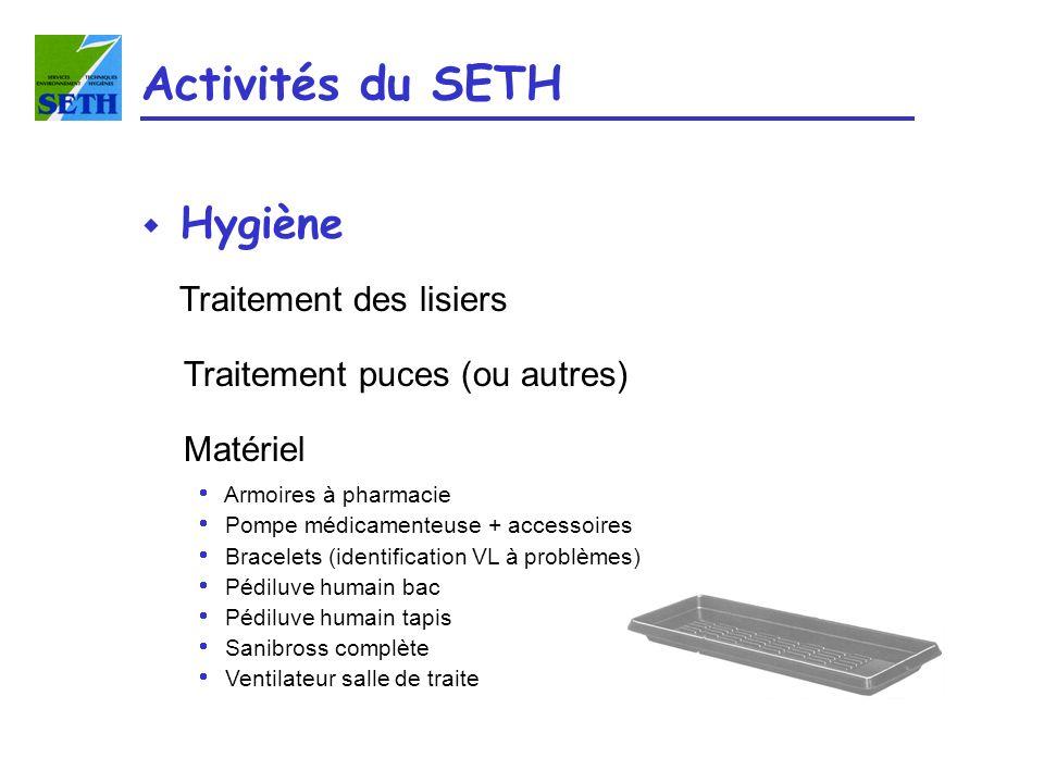 Activités du SETH Hygiène