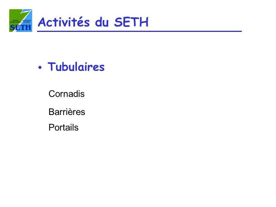 Activités du SETH Tubulaires Cornadis Barrières Portails