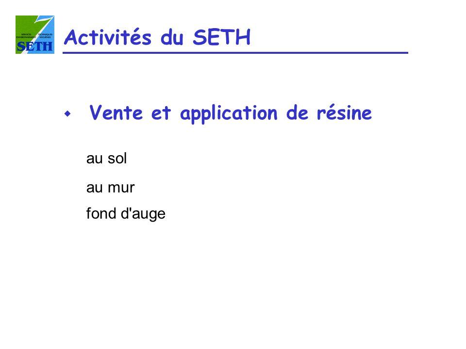 Activités du SETH Vente et application de résine au sol au mur