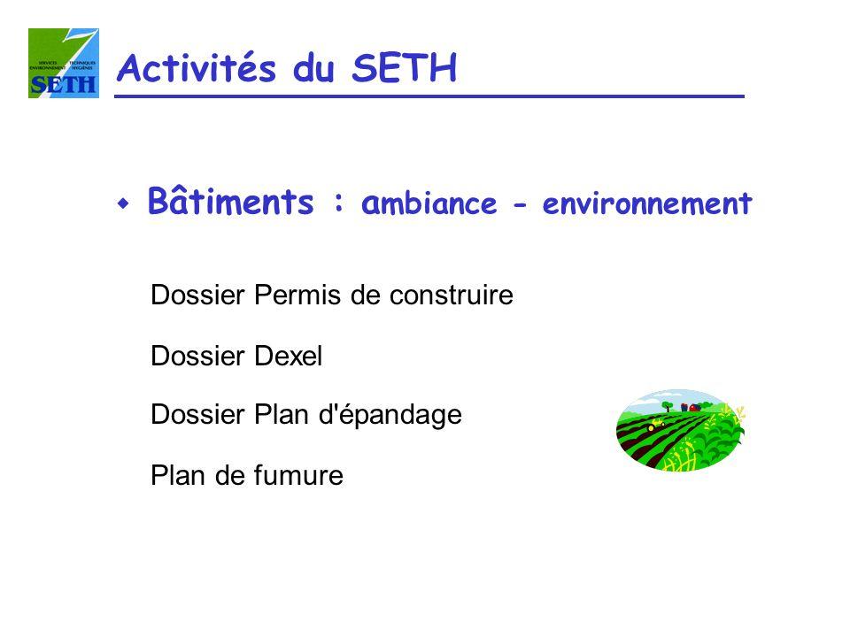 Activités du SETH Bâtiments : ambiance - environnement