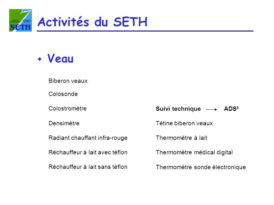 Activités du SETH Veau Biberon veaux Colosonde Colostromètre