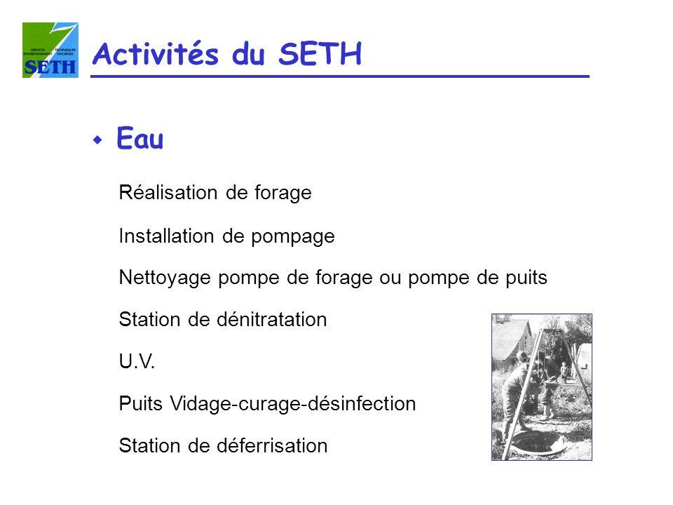 Activités du SETH Eau Réalisation de forage Installation de pompage