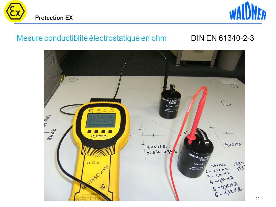 Mesure conductiblité électrostatique en ohm DIN EN 61340-2-3