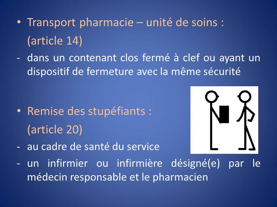 Transport pharmacie – unité de soins : (article 14)