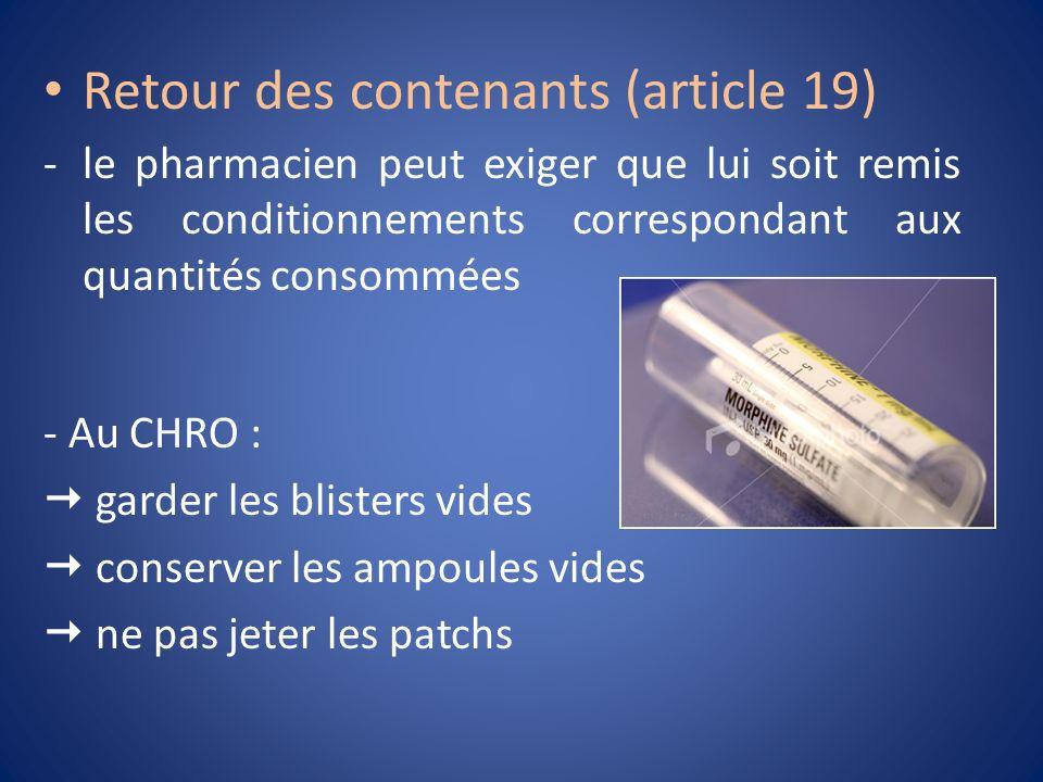 Retour des contenants (article 19)