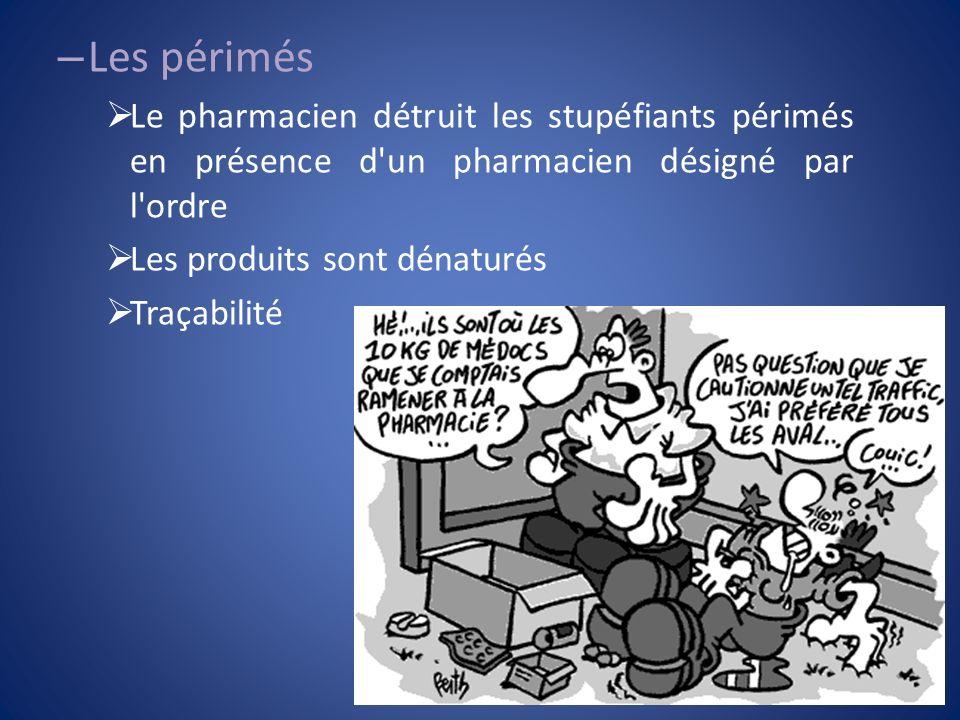 Les périmés Le pharmacien détruit les stupéfiants périmés en présence d un pharmacien désigné par l ordre.