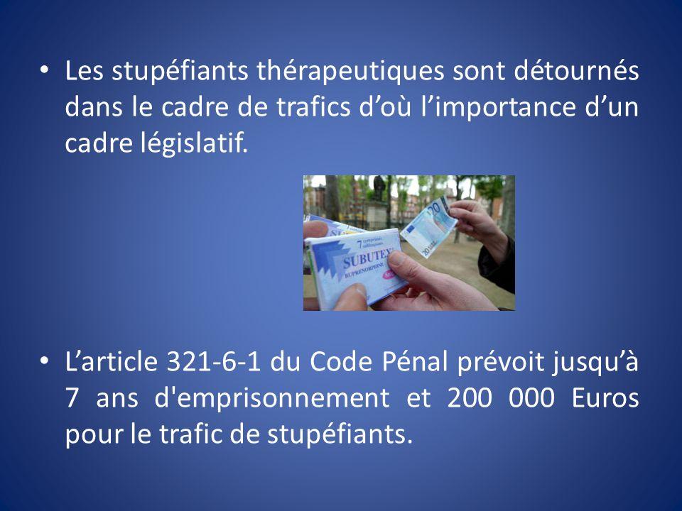 Les stupéfiants thérapeutiques sont détournés dans le cadre de trafics d'où l'importance d'un cadre législatif.