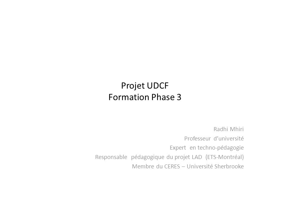 Projet UDCF Formation Phase 3
