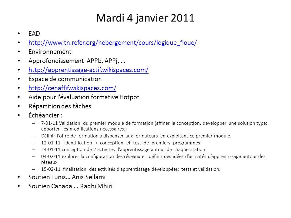 Mardi 4 janvier 2011 EAD. http://www.tn.refer.org/hebergement/cours/logique_floue/ Environnement.
