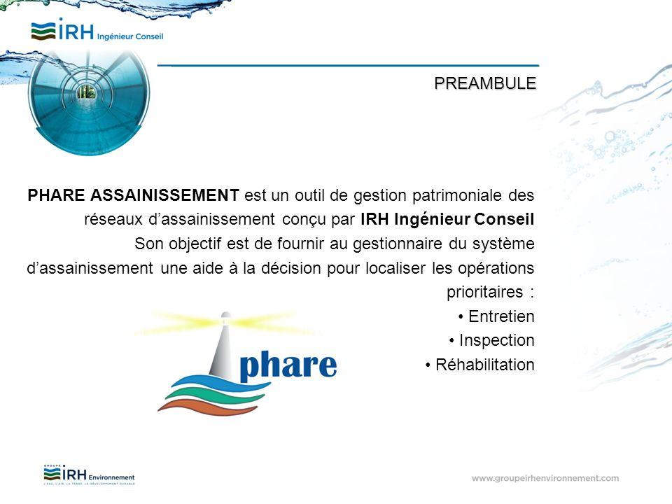 PREAMBULE PHARE ASSAINISSEMENT est un outil de gestion patrimoniale des réseaux d'assainissement conçu par IRH Ingénieur Conseil.