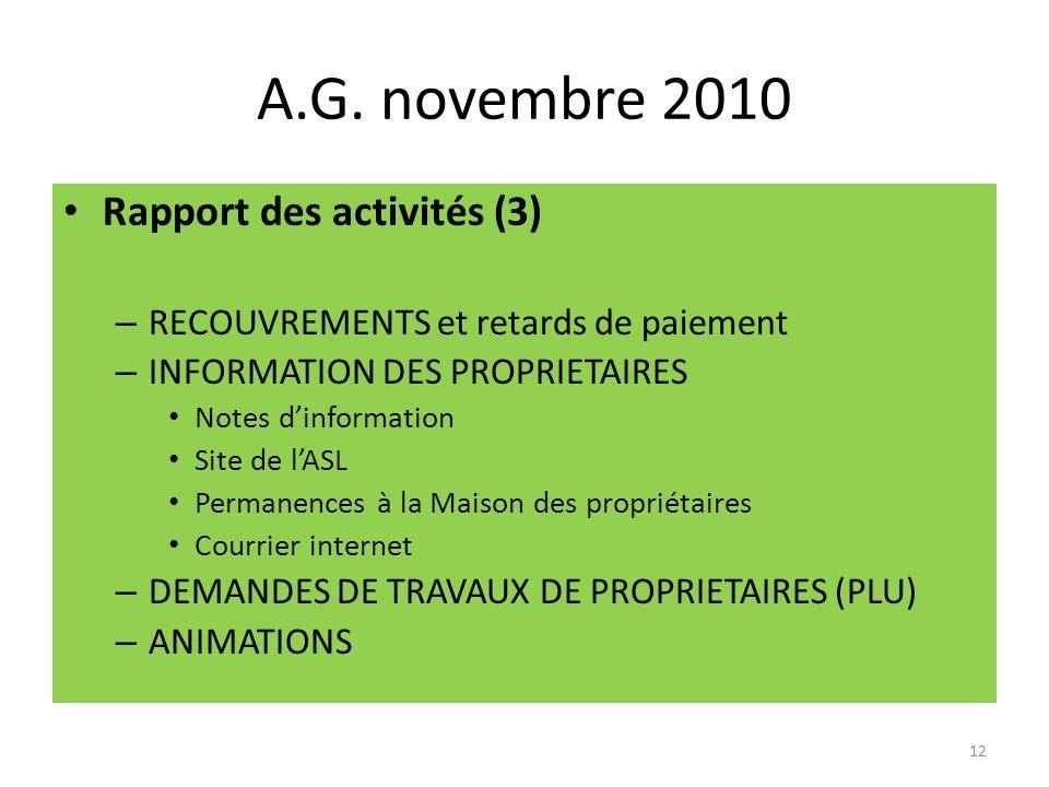 A.G. novembre 2010 Rapport des activités (3)