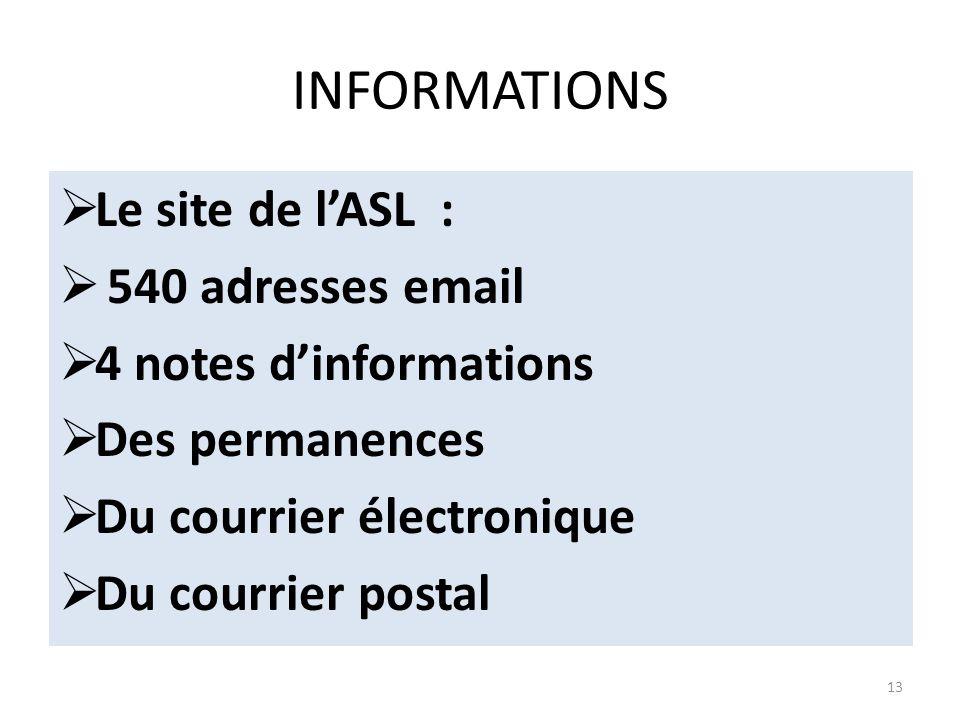 INFORMATIONS Le site de l'ASL : 540 adresses email