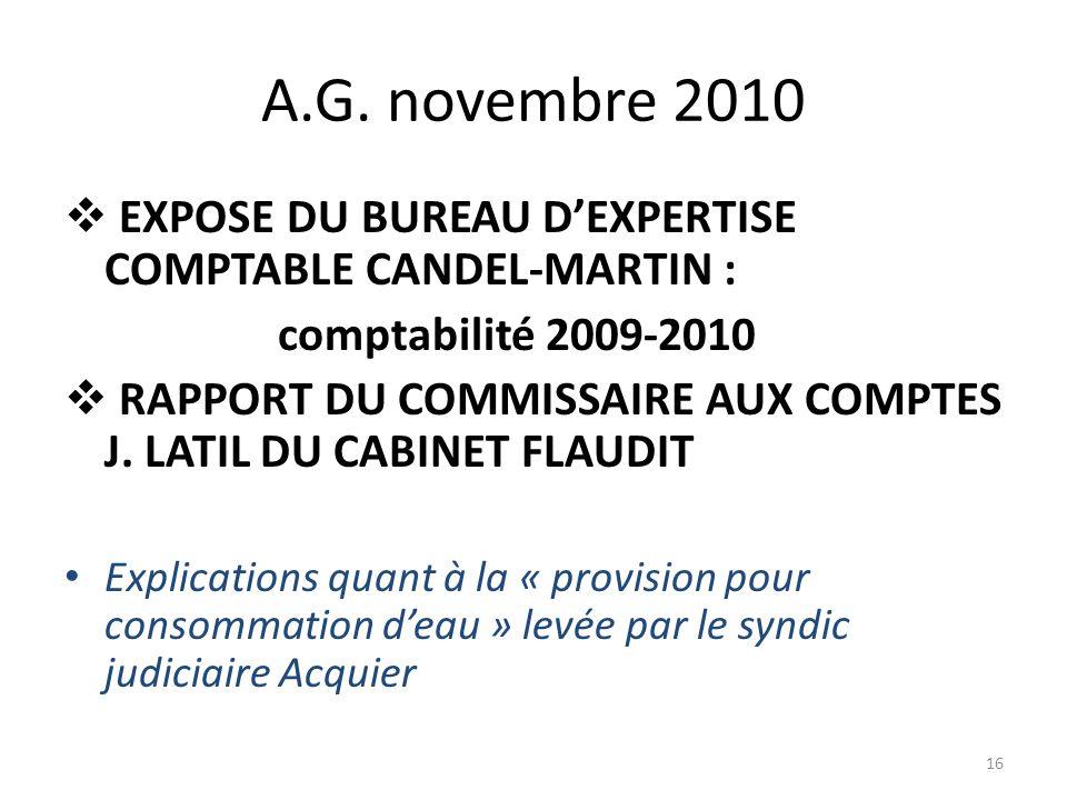 A.G. novembre 2010 EXPOSE DU BUREAU D'EXPERTISE COMPTABLE CANDEL-MARTIN : comptabilité 2009-2010.
