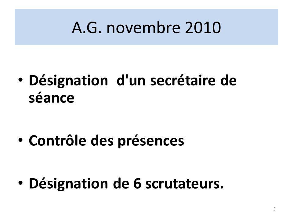 A.G. novembre 2010 Désignation d un secrétaire de séance