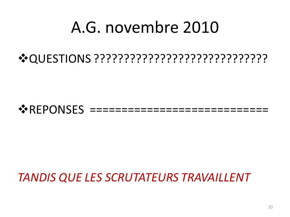A.G. novembre 2010 QUESTIONS .
