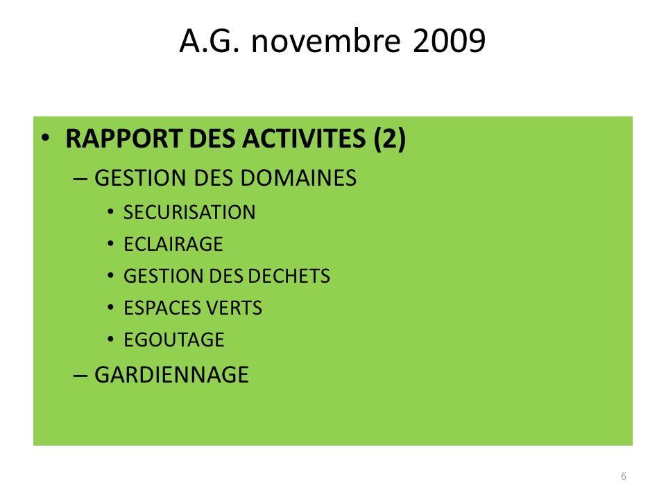 A.G. novembre 2009 RAPPORT DES ACTIVITES (2) GESTION DES DOMAINES