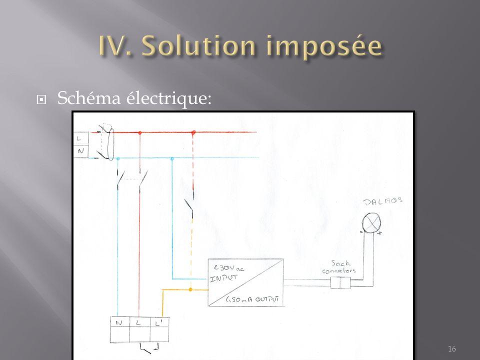 IV. Solution imposée Schéma électrique: