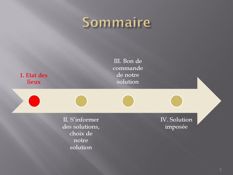 Sommaire I. Etat des lieux