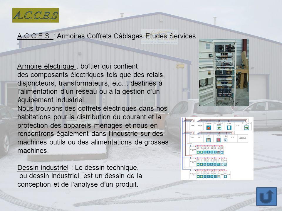 A.C.C.E.S. : Armoires Coffrets Câblages Etudes Services.