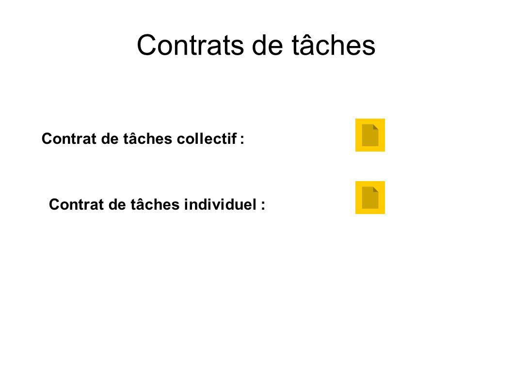 Contrats de tâches Contrat de tâches collectif :