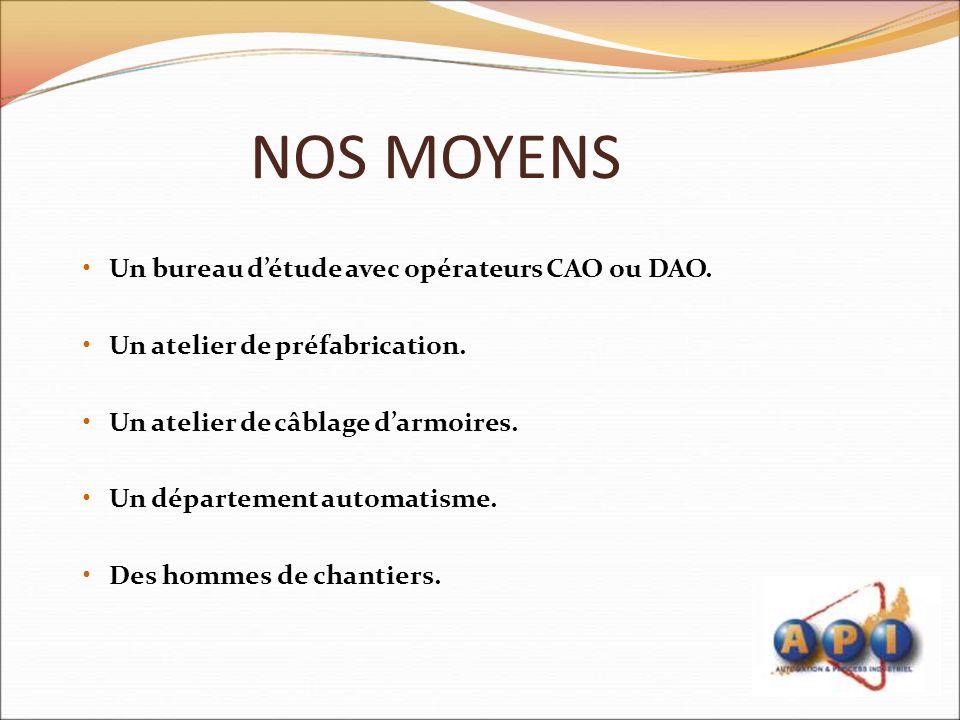NOS MOYENS Un bureau d'étude avec opérateurs CAO ou DAO.