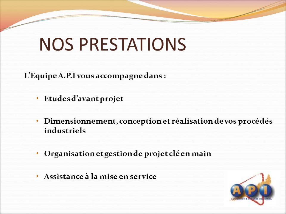 NOS PRESTATIONS L'Equipe A.P.I vous accompagne dans :