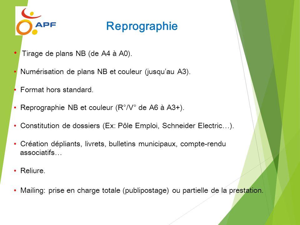 Reprographie Tirage de plans NB (de A4 à A0).