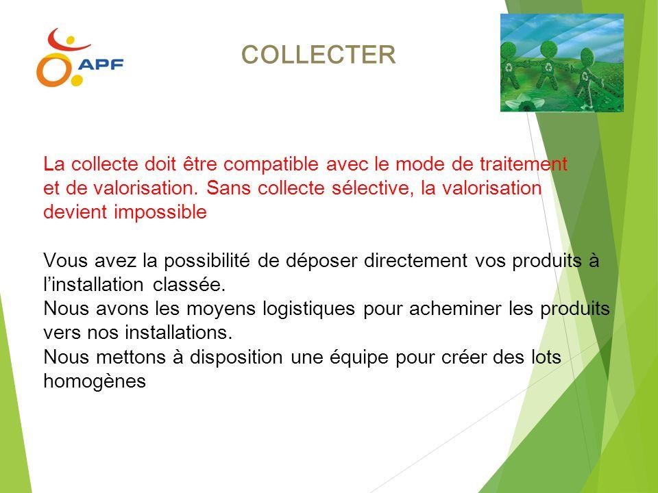 COLLECTER La collecte doit être compatible avec le mode de traitement