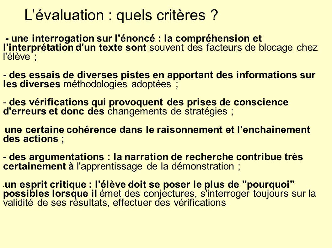 L'évaluation : quels critères