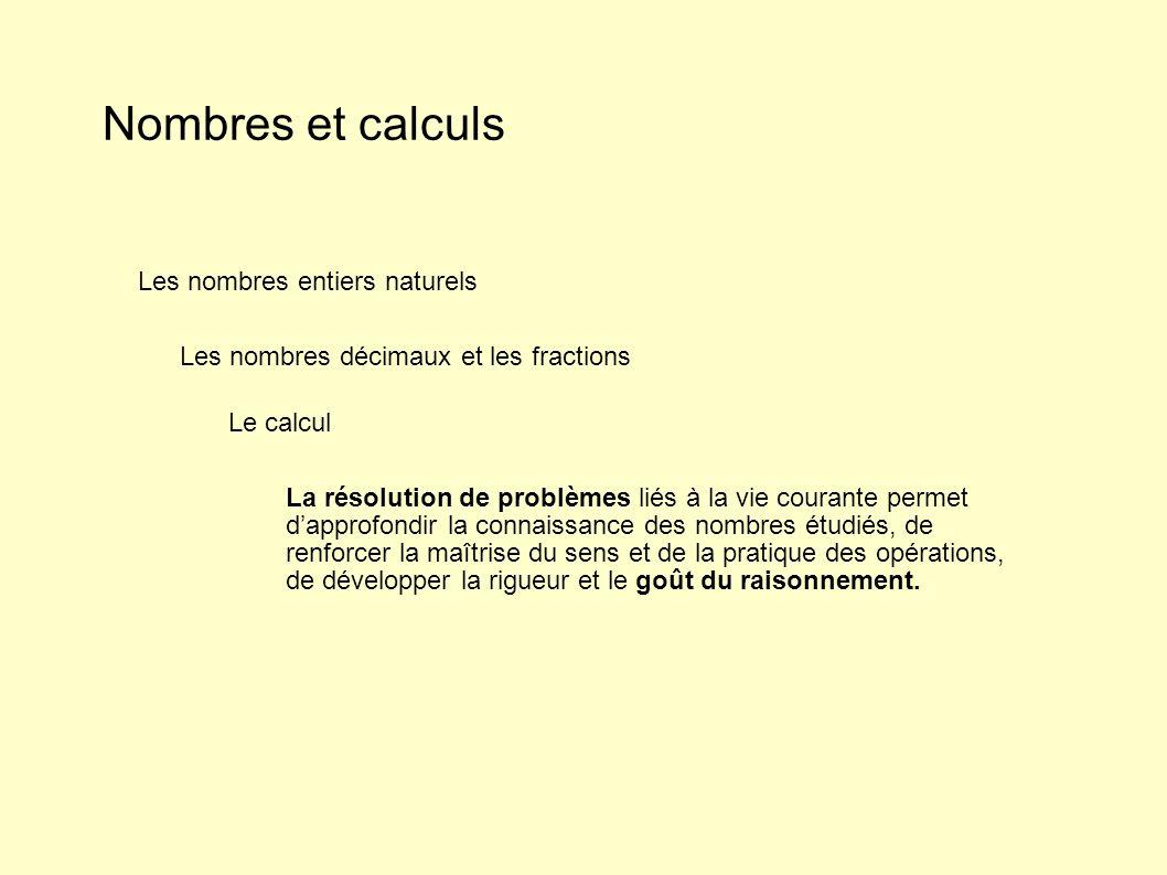Nombres et calculs Les nombres entiers naturels