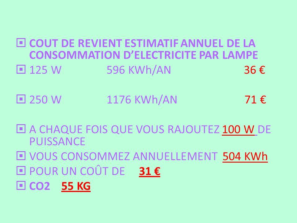 COUT DE REVIENT ESTIMATIF ANNUEL DE LA CONSOMMATION D'ELECTRICITE PAR LAMPE