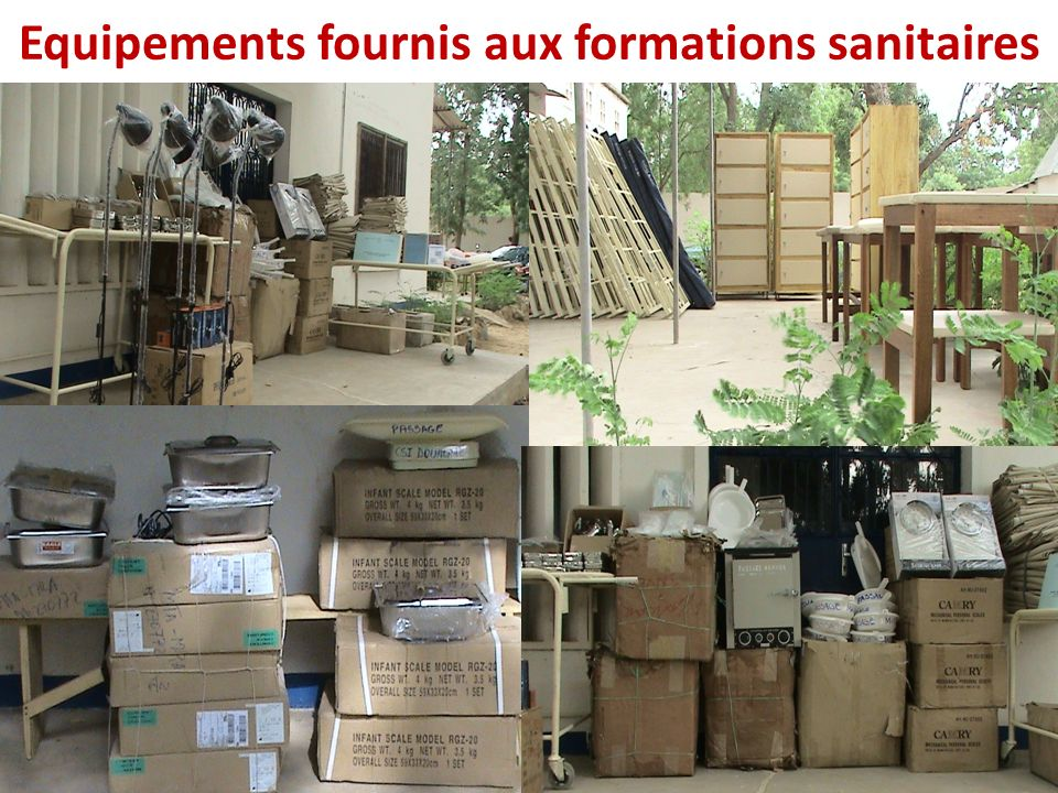 Equipements fournis aux formations sanitaires