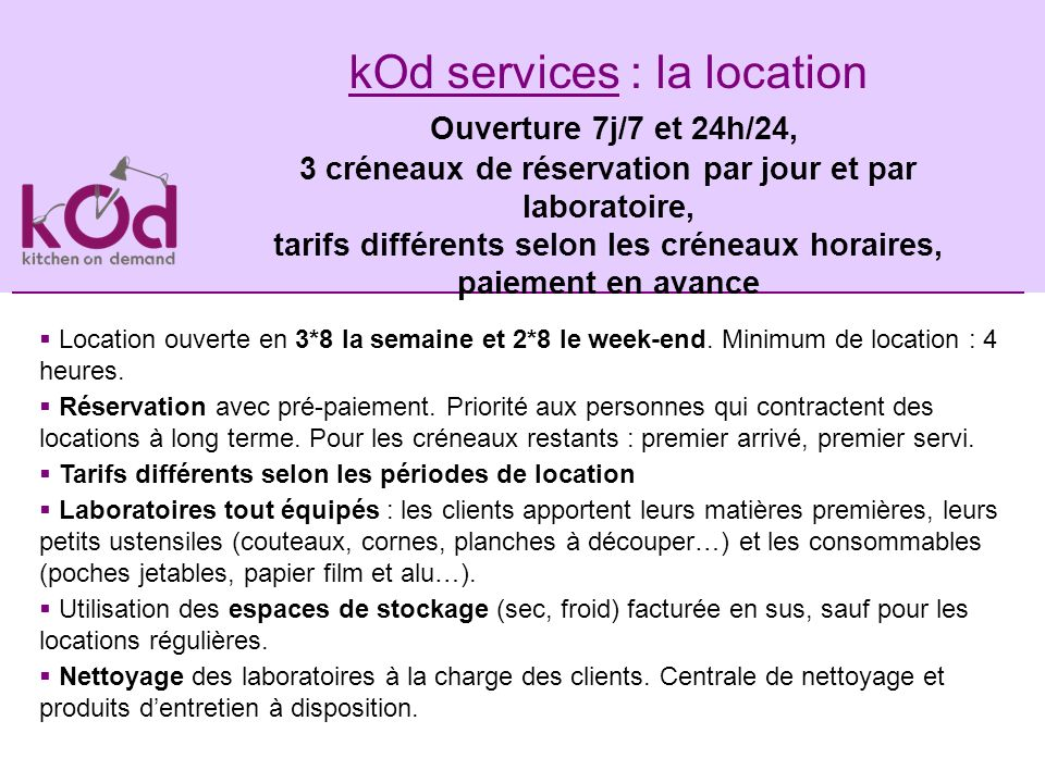 kod services une cuisine professionnelle de 100 m2 en banlieue parisienne sud lou e aux. Black Bedroom Furniture Sets. Home Design Ideas