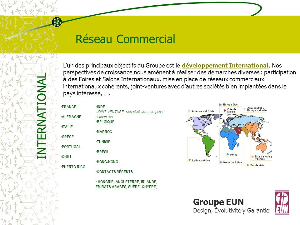 Réseau Commercial INTERNATIONAL Groupe EUN