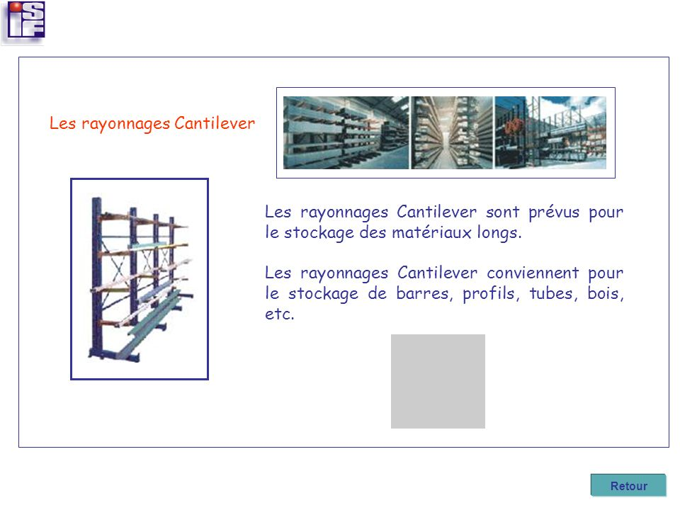 Les rayonnages Cantilever