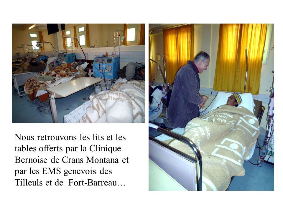 Nous retrouvons les lits et les tables offerts par la Clinique Bernoise de Crans Montana et par les EMS genevois des Tilleuls et de Fort-Barreau…