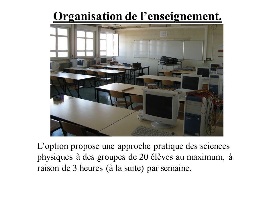 Organisation de l'enseignement.
