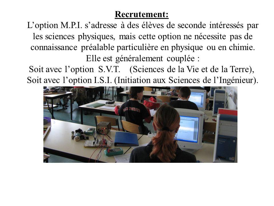 L'option M.P.I. s'adresse à des élèves de seconde intéressés par