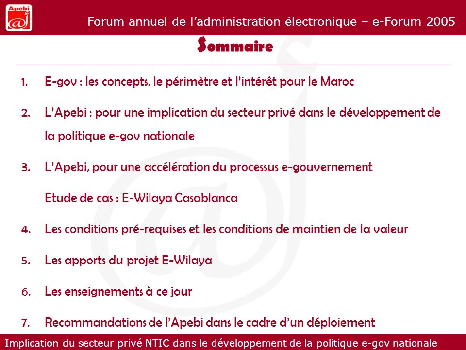 Sommaire E-gov : les concepts, le périmètre et l'intérêt pour le Maroc