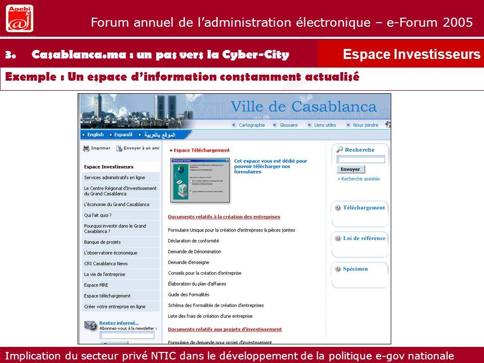 Espace Investisseurs 3. Casablanca.ma : un pas vers la Cyber-City