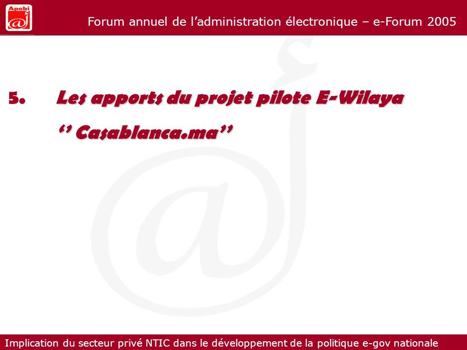 5. Les apports du projet pilote E-Wilaya