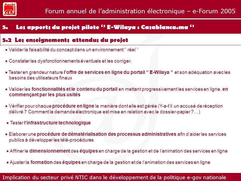 5. Les apports du projet pilote '' E-Wilaya : Casablanca.ma ''